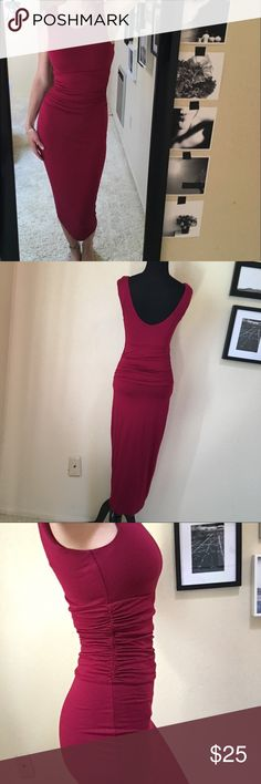 """Maroon Form-Fitting Below The Knee Dress DETAILS: Venus Burgundy / Maroon Fitted Mid-Calf Business Dress   CONDITION: Like New (never worn)  SIZE: 2 (black dress form & my measurements: 5'6"""" height // 34C bust // 24.5"""" waist // 34.5"""" hips)  SHIPS QUICKLY! same or next business day if purchased before 12pm PST / 1-2 business days if after 12pm PST VENUS Dresses Midi"""