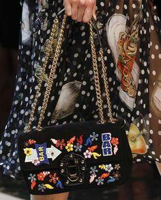 Collezione borse Dolce & Gabbana Primavera Estate 2017 - Shoulder bag con applicazioni Dolce & Gabbana