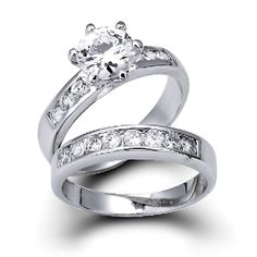 Vintage Round Cut CZ Diamond Engagement Wedding Ring Set 1.5ct