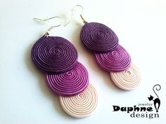 Dangle casual soutache earrings in purple от DaphneJewelryDesign