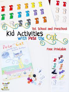Pete the cat Tot School & Preschool Kid Activities with FREE printable