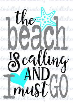 The Beach is Calling and I Must Go Vinyl Decal/Car Decal/Window Decal/Wall Decal/Tumbler Decal by EmbellisheDKreationz on Etsy