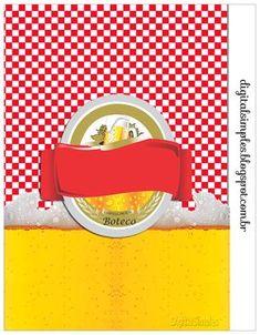 Tema Boteco Xadrez vermelho, com rótulo de cerveja, convites, rótulos para copos, gratuito para imprimir.