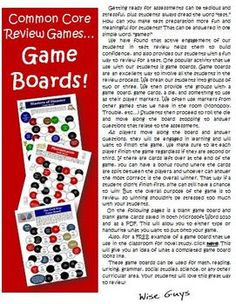 Creativity in the Common Core Classroom: Using Game Boards for Review! FREE example!