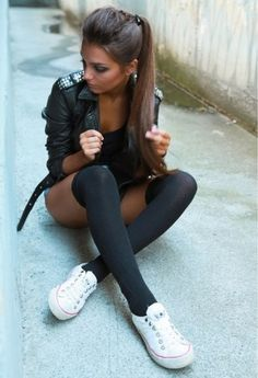 converse, ponytail, over the knee