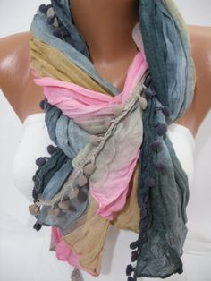 Multicolor Women Shawl Scarf  Headband Necklace Cowl by DIDUCI, $13.50