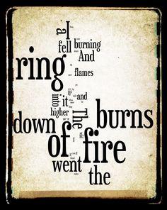 Ring of Fire Lyrics - Johnny Cash - Word Art Print - Gift Idea. $25.00, via Etsy.