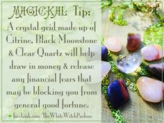 available here : http://www.whitewitchparlour.com/product-p/mdcgs1.htm  money, magick, grid, crystal, mandala, affirmation, magic, spell, prayer, flow, wealth, riches, good fortune, witch, spiritual, growth, abundance, prosperity, witchy, tip, crystals, black, moonstone, citrine, clear quartz, how to #whitewitchparlour facebook.com/Thewhitewitchparlour