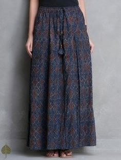 Indigo Ajrakh Printed Elasticated Tie-Up waist Cotton Long Skirt with Pockets by Jaypore