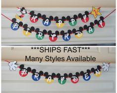 Mickey Mouse Birthday Banner DIY Kit Optional Custom Name with