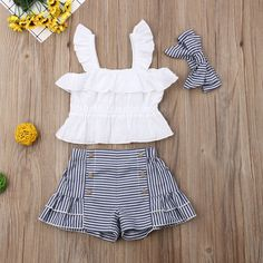 Ruffled Top and Striped Shorts Headband Set Ruffled Top and Striped Shorts Headband Set Girls Summer Outfits, Little Girl Outfits, Toddler Girl Outfits, Toddler Girl Dresses, Kids Outfits, Baby Dress Design, Baby Girl Dress Patterns, Newborn Outfits, Baby Outfits