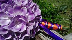 Plumeria Bouquet, 10 piece Set, Purple Plumeria Bouquet, Real Touch Bouquet, Purple Bouquet, Beach Wedding, Plumeria, Purple Orange Bouquet