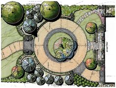 62 ideas for garden drawing architecture design Landscape Design Plans, Urban Landscape, Landscape Drawings, Cool Landscapes, Garden Drawing, Traditional Landscape, Garden Planning, Amazing Gardens, Garden Landscaping