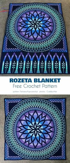 Stained Glass Crochet, Free Patterns - Rozeta Blanket Free Crochet Pattern It i. Stained Glass Crochet, Free Patterns - Rozeta Blanket Free Crochet Pattern It is a very decorative and elegant project that will be the hi - stuff diy Stitch Crochet, Crochet Motifs, Crochet Blanket Patterns, Crochet Stitches, Knitting Patterns, Knitting Ideas, Crochet Afghans, Crochet Free Patterns, Crotchet Blanket