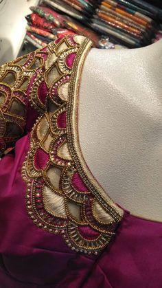 The Bridal Boutique in Chennai - Designer bridal boutique & Tailoring Cutwork Blouse Designs, Wedding Saree Blouse Designs, Pattu Saree Blouse Designs, Half Saree Designs, Simple Blouse Designs, Blouse Neck Designs, Aari Embroidery, Embroidery Neck Designs, Hand Work Blouse Design