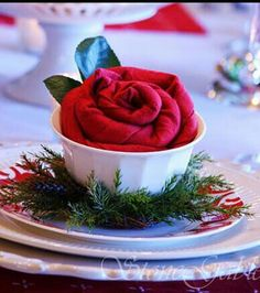 Christmas rose made from napkin -- charming