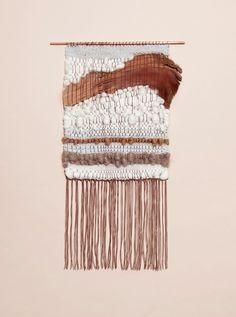 Yarn and palm tree bark weaving by Mimi Jung  http://www.brookandlyn.com/