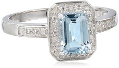 Sterling Silver Aquamarine and Diamond Emerald Cut Ring, Size 7 Amazon Curated Collection