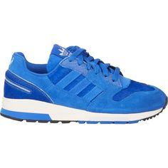 adidas Blue ZX 420 Sneakers featuring polyvore, fashion, shoes, sneakers, blue, lace up sneakers, adidas, blue leather sneakers, blue shoes and flat shoes