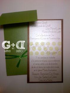 #Tarjeta #Boda Tipo POstal - Combinación en Tonos Marrones y Verdes