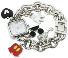 Disney Women's MK2059 Mickey Mouse Mother-of-Pearl Dial Charm Bracelet Watch Disney. $24.99. Five cute charm bracelet watch. Jewelry clasp. Precise Japanese-Quartz movement. Durable mineral crystal. Square case; mother-of-pearl dial