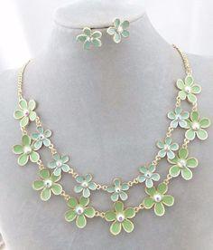Gold With Green Flowers Necklace Set Crystal Rhinestone  Fashion Jewelry NEW #Davinci