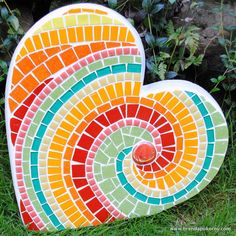 heart shape concrete stone | Tropicana Heart Large Mosaic Stepping Stone by brendapokorny