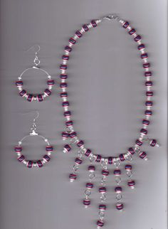 Red, White and Blue Handmade Striped Polyresin Beads Necklace Set #Handmade #Bib