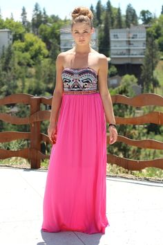 Moroccan Melody Embroidered Strapless Maxi Dress