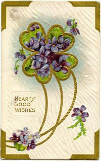 Here's a free vintage Victorian St. Patrick's Day image with clover and violets.