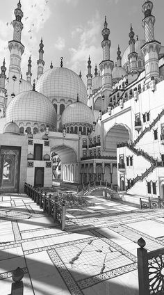 Architecture Drawing Discover Fantasy Mosque This is a personal concept of a Mosque. I combined the beauty of these religious buildings with a fantasy flavor. 3d Fantasy, Fantasy Landscape, Polygon Modeling, 3d Modeling, Environment Concept Art, Game Environment, 3d Model Character, Prop Design, Building Art