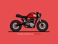 Triumph Bonneville Mad Max designed by Christopher Colouryum. Connect with them on Dribbble; Motorcycle Art, Bike Art, Logo Esport, Estilo Cafe Racer, Bike Icon, Bike Drawing, Bike Tattoos, Bike Illustration, Triumph Bonneville