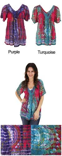 Tie Dye Spirit Top at The Animal Rescue Site >>> I think i might get this. I am always looking for a unique, pretty top to go with leggings. This one is only $25 and it funds 28 bowls of pet food through the Animal Rescue Site :)