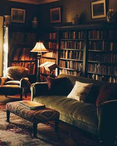 32 Trendy home library room curls Home Library Design, House Design, Home Library Decor, Library Ideas, Couch Placement, Library Room, Cozy Library, Green Library, Cozy House