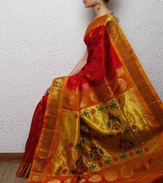 Red Paithani Silk Saree Ethnic Sarees, Indian Sarees, Silk Sarees, Marathi Wedding, Bengali Bride, Traditional Sarees, Indian Attire, Saris, Fashion Art