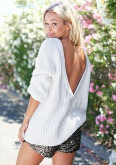 White V Back Sweater
