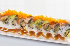 Dragon($12.95) - Shrimp tempura, cucumber topped w/eel, avocado, tobiko, eel sauce