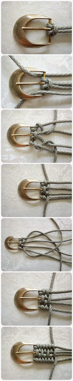 Tutorial: Belt Weaving Using Nylon Cord Accessories Do-It-Yourself Ideas Here is an idea I had never seen to weave a belt. Here's a different kind of Tutorial: Belt Weaving! Use nylon paracord and be zombie-apocalypse ready, too! Fun Crafts, Diy And Crafts, Arts And Crafts, Handmade Crafts, Diy Projects To Try, Craft Projects, Diy Jewelry, Jewelry Making, Metal Jewelry