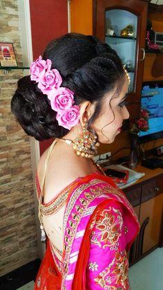 Wedding Hairstyles Engagement Hairstyles In 2019 Braided lehengahairstyles Bridal Hairstyle Indian Wedding, Bridal Hair Buns, Bridal Hairdo, Short Wedding Hair, Bridal Hair And Makeup, Engagement Hairstyles, Braided Bun Hairstyles, Indian Wedding Hairstyles, Bun Hairstyles For Long Hair