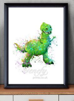Disney Toy Story Rex Dinosaur Watercolor Painting Art Poster Print Wall Decor…