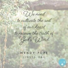 """#First5 @First5App @WendyPope  """" Lord, even though I know Your Word is good for me submitting isn't easy. I want my heart to be a fertile place for the seed of Your Word to grow strong and produce good fruit. Quicken my spirit to submit to Your work in my life."""""""