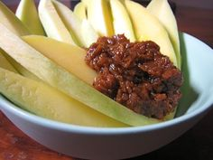 GREEN MANGO & SHRIMP PASTE (MANGGANG HILAW AT BAGOONG). The crunch of the unripe mango, the slightly astringent, incredibly sour shock to the tastebuds, soon mitigated by the gentle squish of tiny shrimp shells that burst with a salty, briney bagoong flavor.