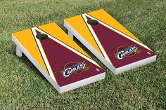 Our CLEVELAND CAVS CAVALIERS CORNHOLE GAME SET TRIANGLE VERSION. Get your custom set at victorytailgate.com