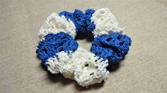 「浮き輪みたいなマリンシュシュ」夏らしいシュシュを作りたくて[材料]お好みの糸2種類/ヘアゴム