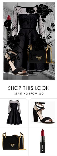 """""""Little black dress"""" by umathurmam ❤ liked on Polyvore featuring Marc by Marc Jacobs, Kate Spade, Prada and NYX"""