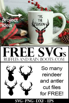 Free Christmas SVGs – Reindeer and Antlers Wow – from hunting to Rudolph, this free reindeer SVG collection has everything. It's not just Cricut cut files, either. So awesome for Christmas crafts! Merry Christmas, Reindeer Christmas, Diy Christmas, Cricut Explore Air, Cricut Vinyl, Cricut Monogram, Cricut Fonts, Cricut Creations, Christmas Projects