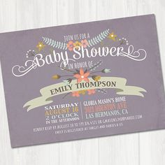 Sweet Antique Baby Shower Invitation Floral Baby by partymonkey