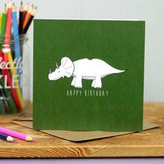 Triceratops Dinosaur Birthday Card