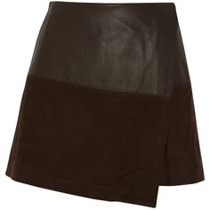Alice + Olivia Wrap-effect leather and suede mini skirt (95.195 HUF) ❤ liked on Polyvore featuring skirts, mini skirts, bottoms, dark brown, brown leather skirt, short mini skirts, wrap skirt, suede skirt y short skirts