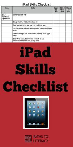 Pinterest collage of iPad skills checklist